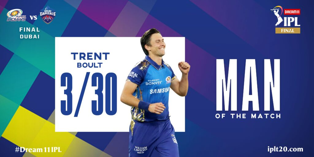 A very well deserved Man of the Match award for boult
